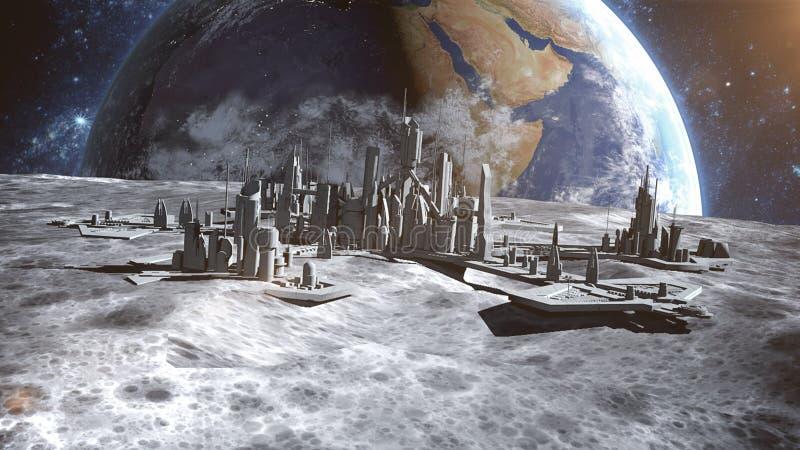 Futuristische stad, stad op maan De ruimtemening van de aarde het 3d teruggeven royalty-vrije illustratie