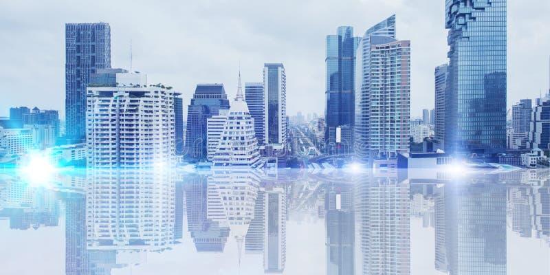 Futuristische stadsmetro stedelijke brede panoramabanner royalty-vrije stock afbeeldingen
