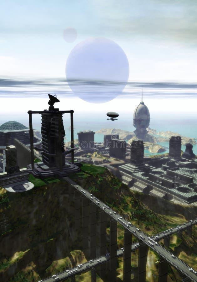 Futuristische Stadt auf dem Meer vektor abbildung