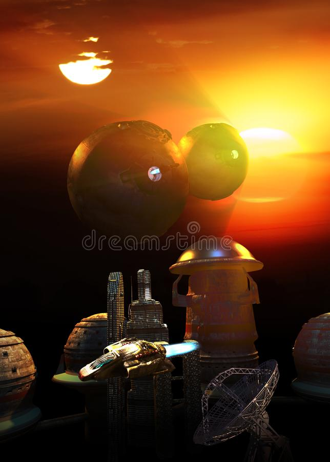 Futuristische Stadt auf Planeten mit zwei Sonnen stock abbildung