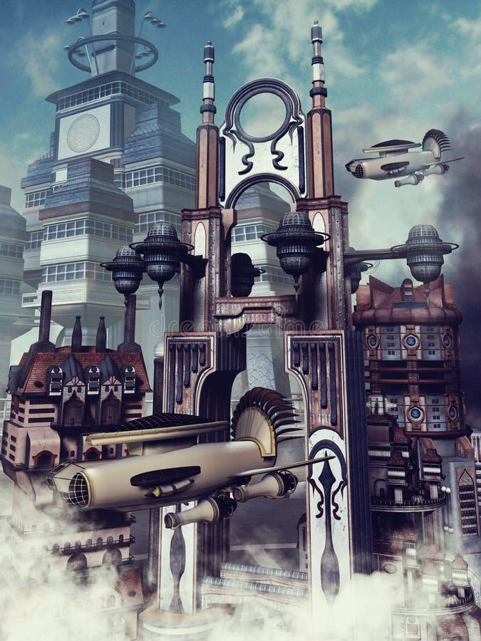 Futuristische Stadt in den Wolken lizenzfreie abbildung