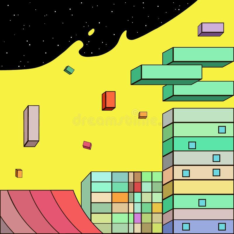Futuristische Stadt in der komischen Art lizenzfreie abbildung