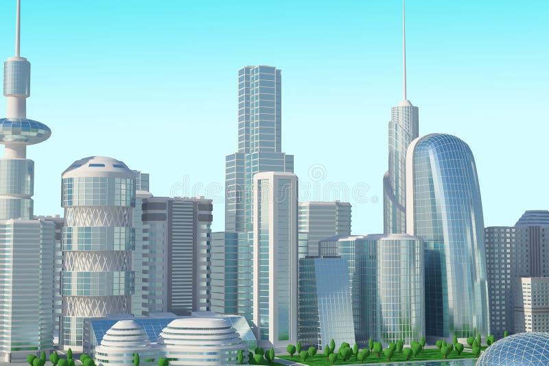 Futuristische Stadt Sci FI stockfoto