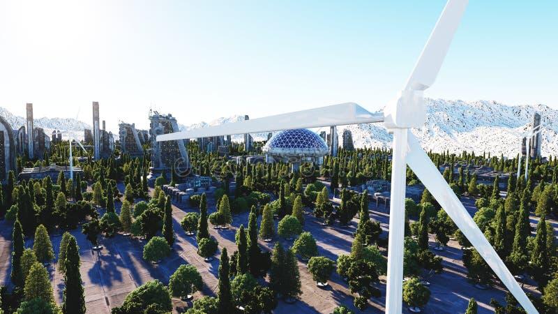 Futuristische Stadt, Stadt Architektur der Zukunft Schattenbild des kauernden Geschäftsmannes Wiedergabe 3d vektor abbildung