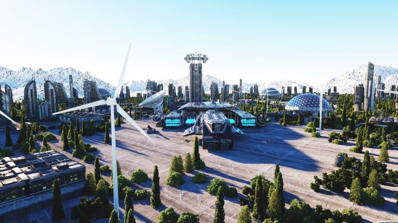 Futuristische Stadt, Stadt Architektur der Zukunft Schattenbild des kauernden Geschäftsmannes Wiedergabe 3d lizenzfreie abbildung