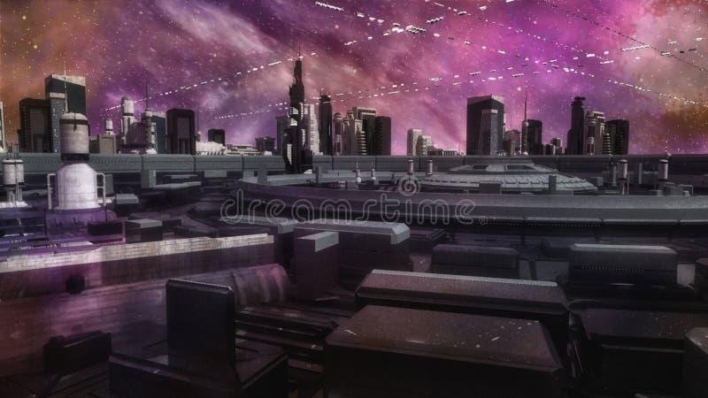 Futuristische Stadt und Raumschiffe lizenzfreie abbildung