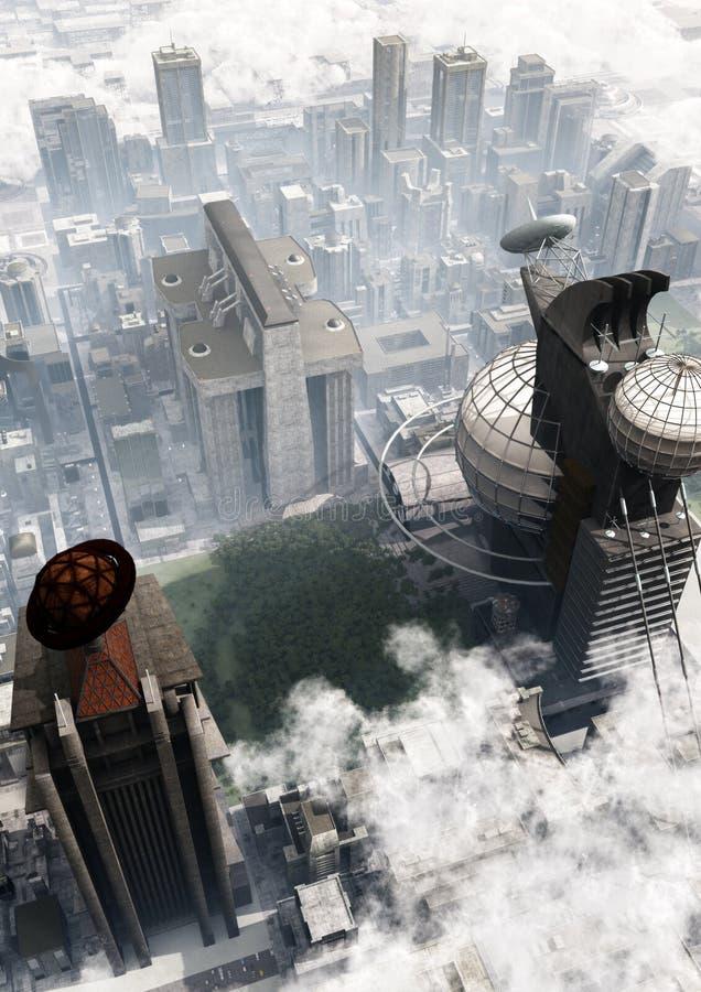 Futuristische Stadt-Vogelperspektive vektor abbildung