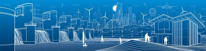 Futuristische Stadtlebeninfrastruktur Industrielles Energieillustrationspanorama Wasserkraft-Kraftwerk Fluss-Verdammung Leute-Geh lizenzfreie abbildung