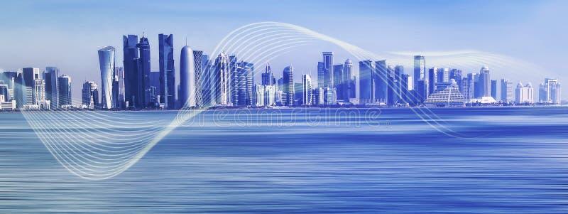 Futuristische stedelijke horizon op blauwe veelhoekachtergrond Mondiaal mededeling en net royalty-vrije illustratie