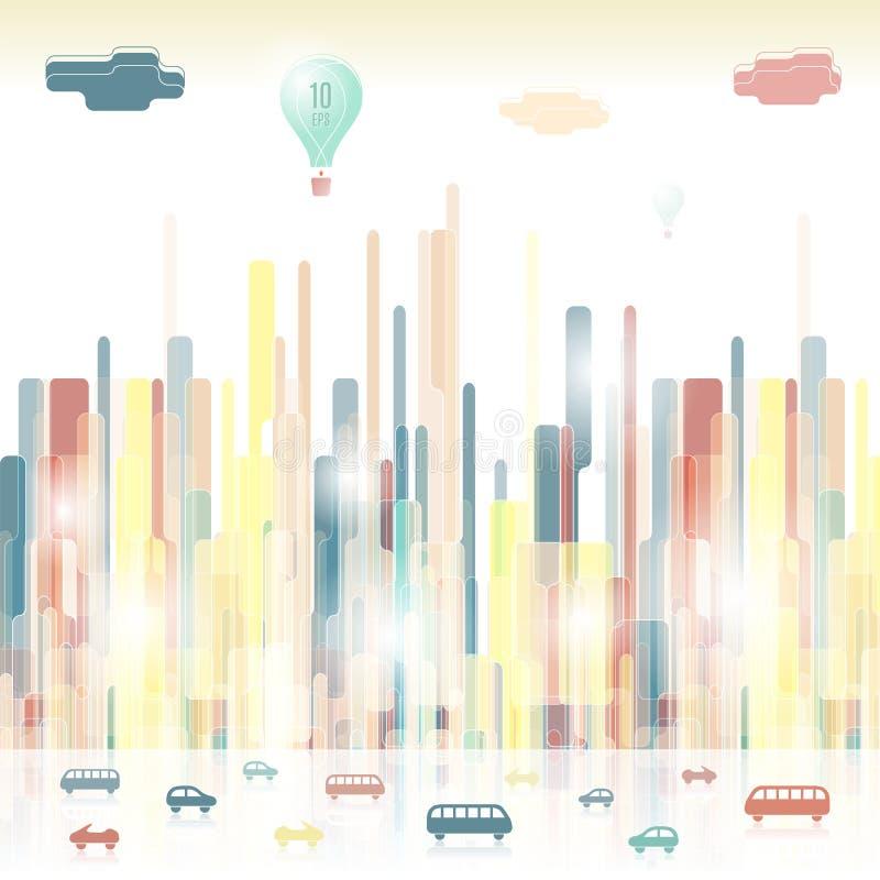 Futuristische stilisierte Stadt Vibrierende städtische Schattenbilder stock abbildung