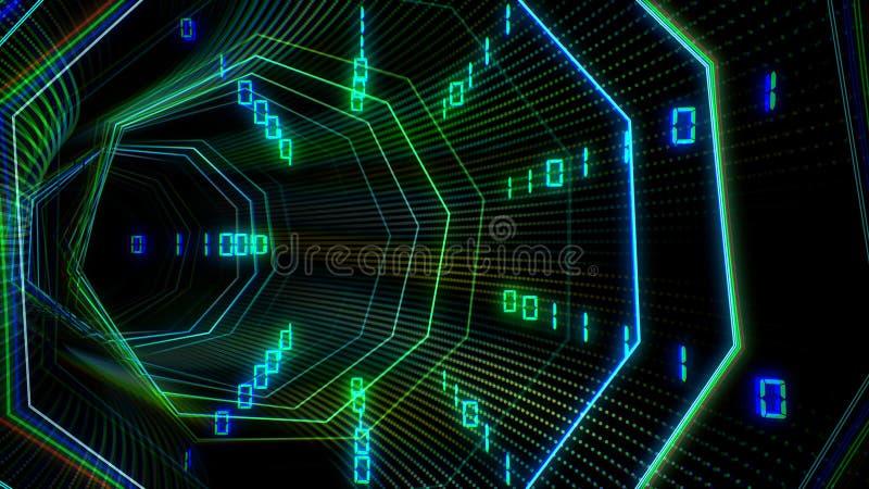 Futuristische technologiecyberspace tunnel met de illustratie van de informatiestroom royalty-vrije illustratie