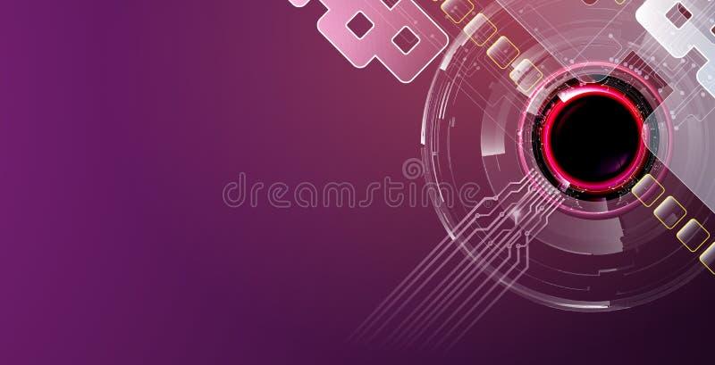 Futuristische thema abstracte achtergrond met purpere kleuren stock afbeeldingen