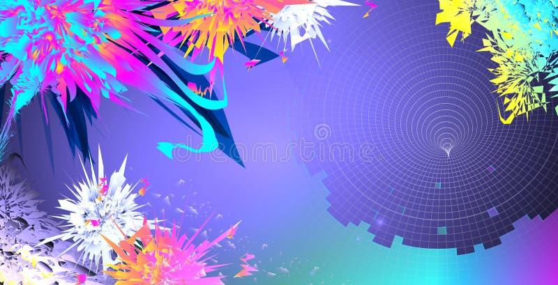 Futuristische trechter op heldere kleurrijke abstracte achtergrond royalty-vrije stock foto's