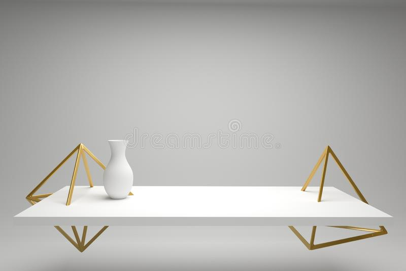 Futuristische vaas op een witte lijst, gouden geometrische vormen, modern stilleven stock illustratie