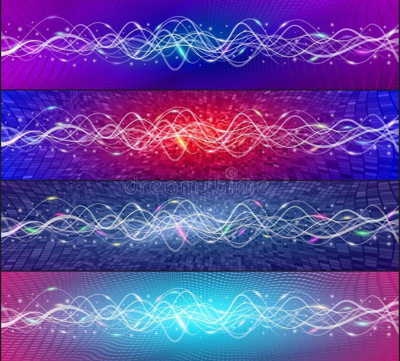 Futuristische van de achtergrond golfschommelingen van communicatietechnologiegegevens kleurenreeks royalty-vrije illustratie
