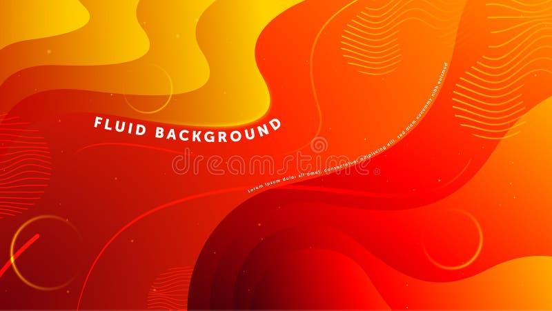 Futuristische vloeibare abstracte achtergrond Vloeibare rode gele gradiënt geometrische vormen EPS 10 vector vector illustratie