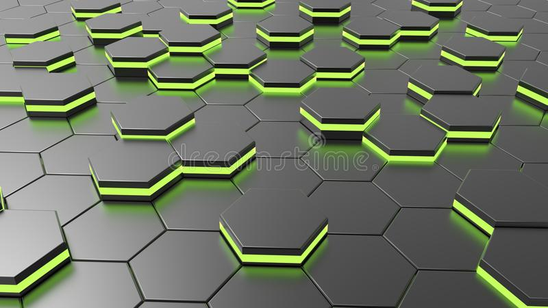 Futuristische vreemde hexagonale vloer met groen licht royalty-vrije illustratie
