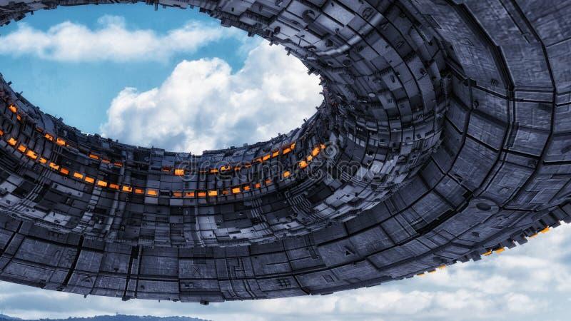 Futuristische vreemde Ruimteschip en hemel vector illustratie