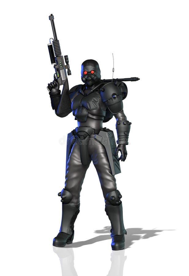 Futuristische vrouwelijke militair stock illustratie