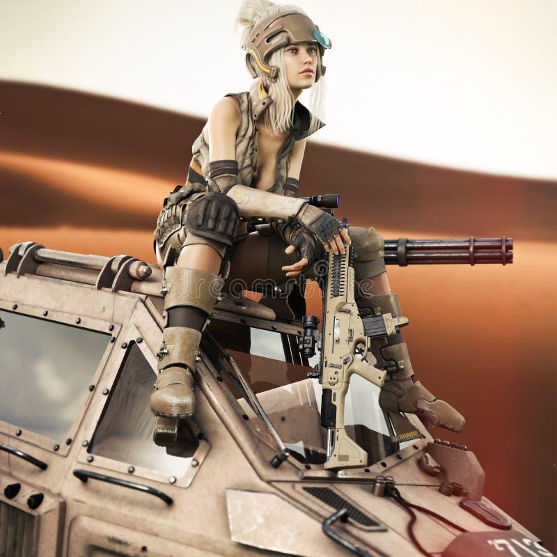 Futuristische Vrouwelijke militairzitting bovenop haar geloodste Mech-robotmachine vector illustratie