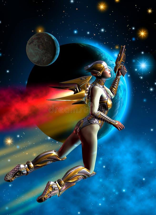 Futuristische vrouwenmilitair die in de kosmische ruimte, in de achtergrondsterren, de planeten, de nevel en de asteroïden, 3d il royalty-vrije illustratie