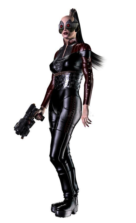 Futuristische vrouwenmilitair, die met kanonnen wordt bewapend, 3d illustratie stock illustratie