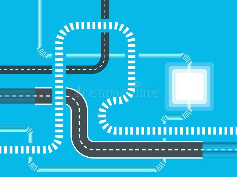 Futuristische wegenkaartachtergrond Gps navigatiebanner Windend weg infographic malplaatje Wegreis en Reisroute Eps 10 stock illustratie