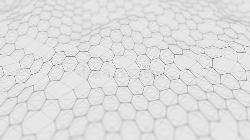 Futuristische witte hexagon achtergrond Futuristisch honingraatconcept Golf van deeltjes het 3d teruggeven stock foto's