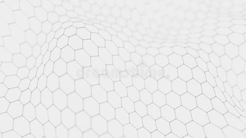 Futuristische witte hexagon achtergrond Futuristisch honingraatconcept Golf van deeltjes het 3d teruggeven royalty-vrije illustratie