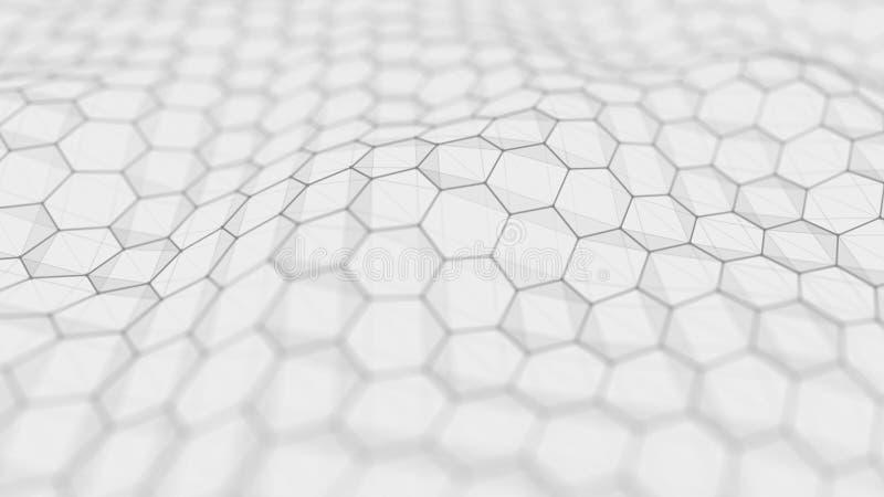 Futuristische witte hexagon achtergrond Futuristisch honingraatconcept Golf van deeltjes het 3d teruggeven vector illustratie