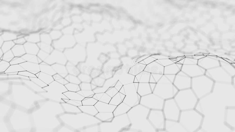 Futuristische witte hexagon achtergrond Futuristisch honingraatconcept Golf van deeltjes het 3d teruggeven De Achtergrond van de  vector illustratie