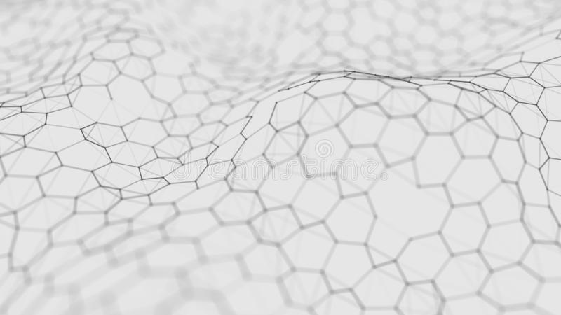 Futuristische witte hexagon achtergrond Futuristisch honingraatconcept Golf van deeltjes het 3d teruggeven De Achtergrond van de  stock illustratie
