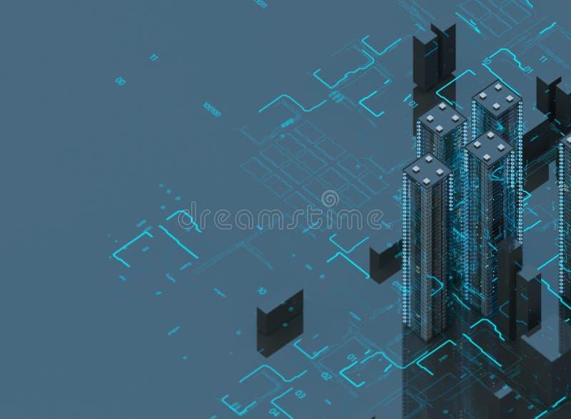 Futuristische wolkenkrabbers in de stroom De stroom van digitale gegevens Stad van de toekomst Aren met de gebieden die op hen wo vector illustratie