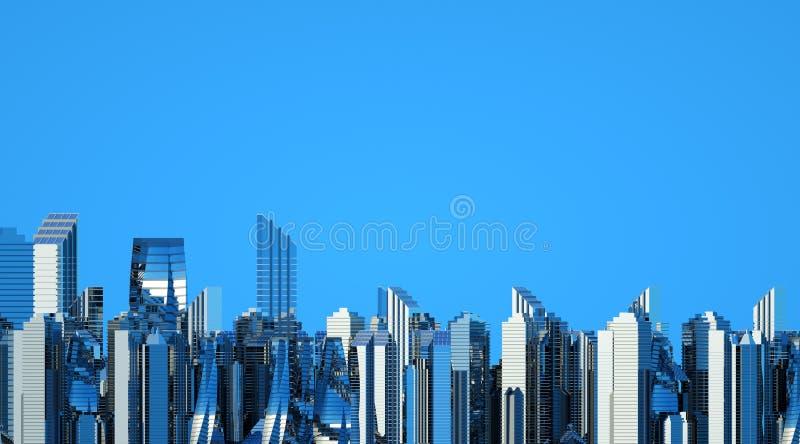 Futuristische wolkenkrabbers in de stroom De stroom van digitale gegevens Stad van de toekomst Aren met de gebieden die op hen wo stock illustratie