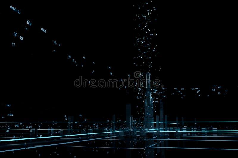 Futuristische wolkenkrabbers in de stroom van informatie De stroom van digitale gegevens de stad van toekomstige 3d geeft terug 3 stock illustratie