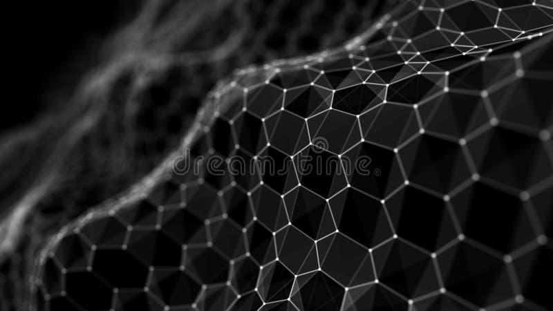 Futuristische zwarte hexagon achtergrond. Futuristisch honingraatconcept. Golf van deeltjes. 3D-rendering. Achtergrond van de gege royalty-vrije illustratie