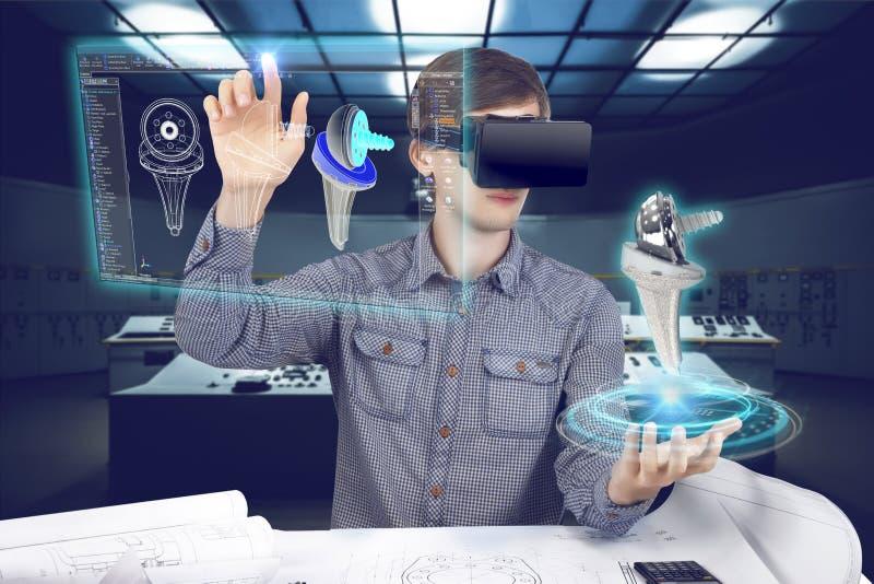Futuristischer Arbeitsplatz des medizinischen Wissenschaftlers lizenzfreies stockbild