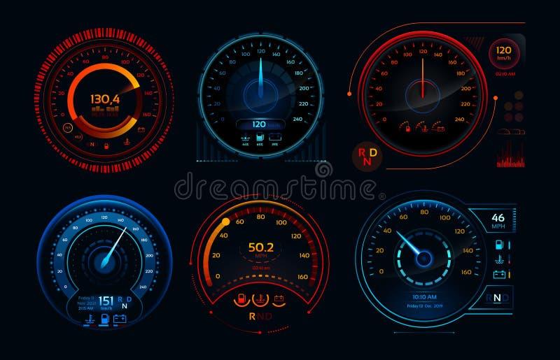 Futuristischer Autogeschwindigkeitsmesser Analoge Platten des Geschwindigkeit hud Fahrleistungsindikatorarmaturenbrett-, -gas- un lizenzfreie abbildung
