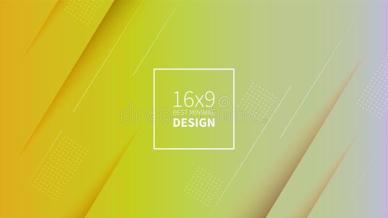 Futuristischer Designgelbhintergrund Schablonen für Plakate, Fahnen, Flieger, Darstellungen und Berichte Minimale geometrische, stock abbildung