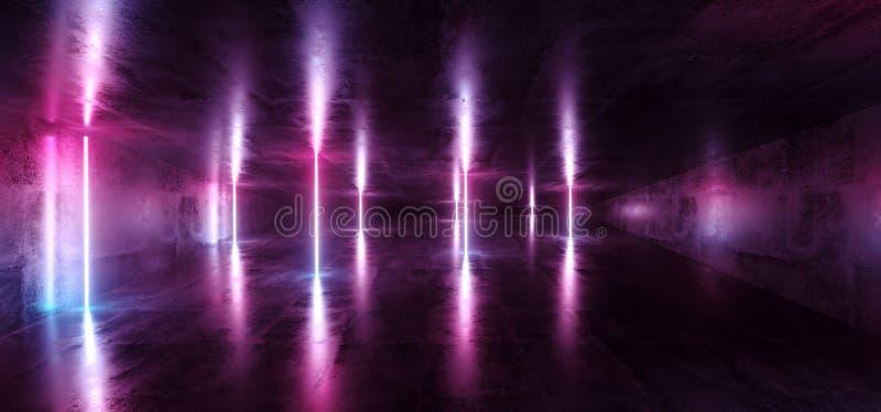 Futuristischer dunkler leerer Raum Sci FI mit blauem und purpurrotem Neonglühen stock abbildung