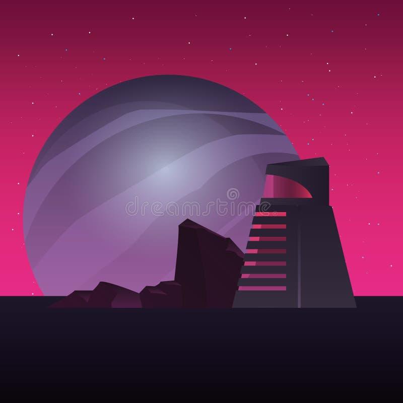 Futuristischer errichtender Planetenraumbau lizenzfreie abbildung