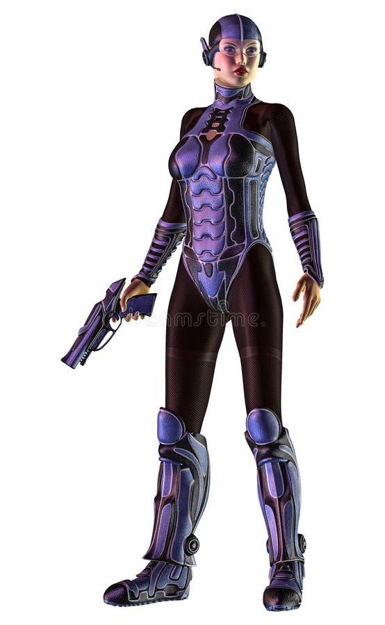 Futuristischer Frauensoldat, bewaffnet mit Gewehr, Illustration 3d stock abbildung