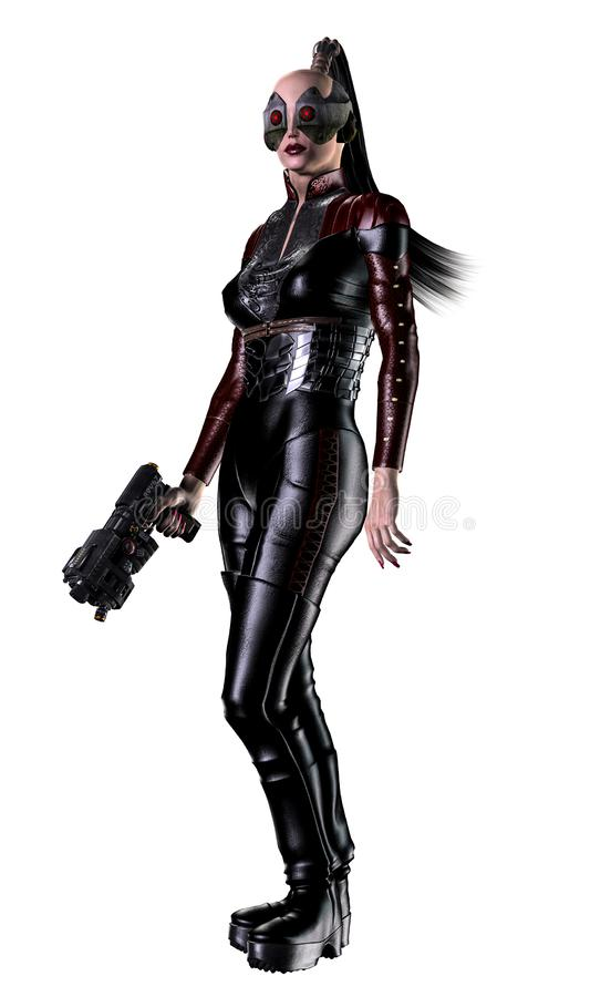Futuristischer Frauensoldat, bewaffnet mit Gewehren, Illustration 3d stock abbildung