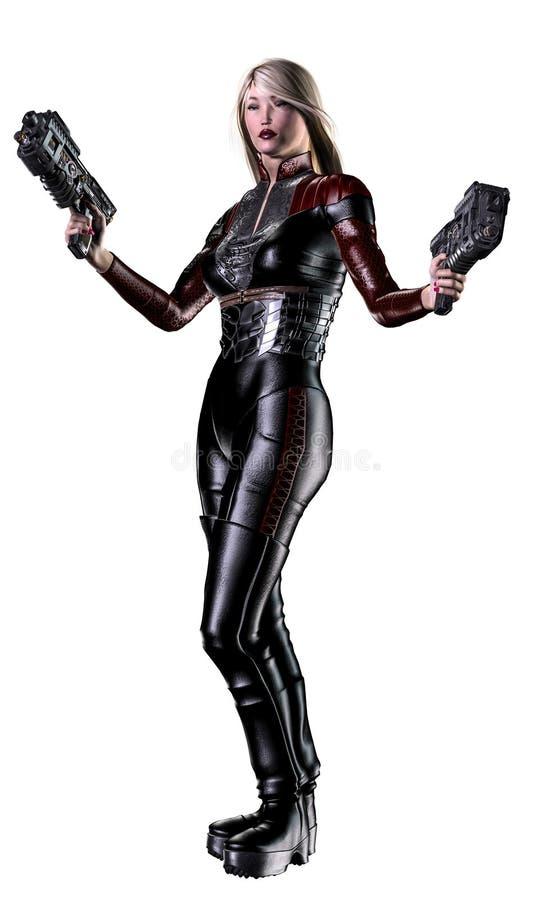 Futuristischer Frauensoldat, bewaffnet mit Gewehren, Illustration 3d lizenzfreie abbildung