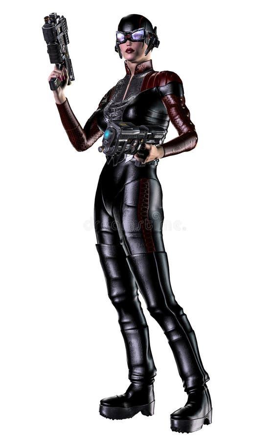 Futuristischer Frauensoldat, bewaffnet mit Gewehren, Illustration 3d vektor abbildung