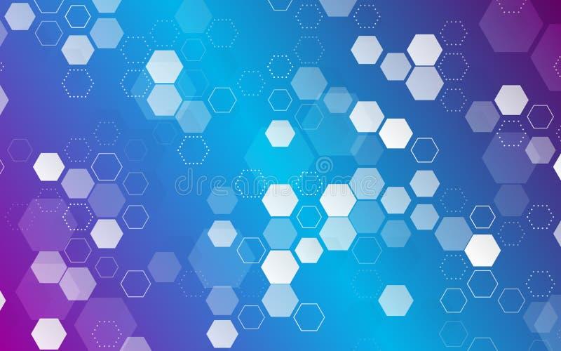 Futuristischer geometrischer Minimalismus Blaue Hexagonform stock abbildung