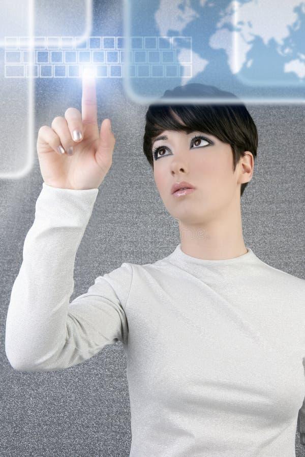 Futuristischer Geschäftsfraufinger-Tastaturbildschirm stockfotos