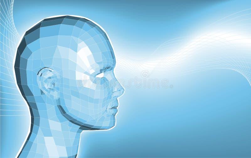 Futuristischer Geschäftshintergrund des Gesichtes 3d lizenzfreie abbildung