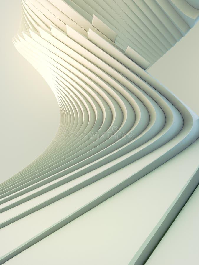 Futuristischer Hintergrund des weißen Streifenmusters 3d übertragen Abbildung vektor abbildung