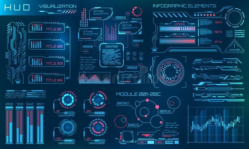 Futuristischer HUD Design Elements Infographic oder Technologieschnittstelle für Informationssichtbarmachung lizenzfreie abbildung